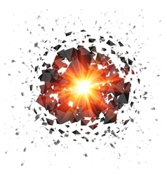 Red flaming meteor explosion isolated on white vector image