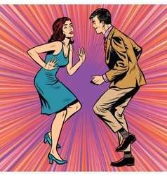 Retro man and woman dancing pop art vector
