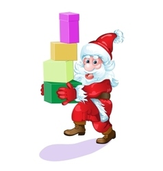 Santa with gifts hurries to please all people vector