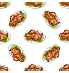 Seamless pattern chicken legs scetch vector image vector image