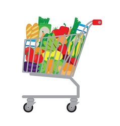 Shopping cart with fresh food vector image