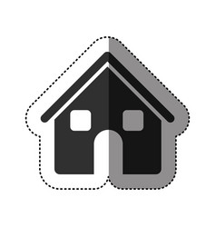 sticker of black silhouette of house two floors in vector image vector image