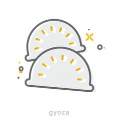 Thin line icons Gyoza vector image vector image
