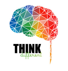 Think different concept low poly colorful brain vector