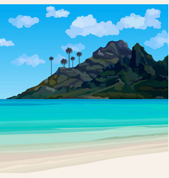 Tropical coastline with blue water and a mountain vector