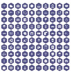 100 dispatcher icons hexagon purple vector