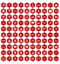100 engineering icons hexagon red vector