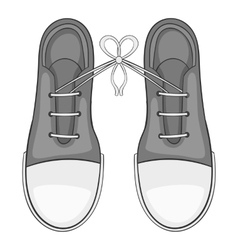 Tied laces on shoes icon gray monochrome style vector image