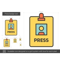 Press badge line icon vector