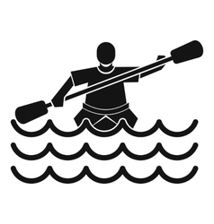 Male athlete in a canoe icon simple style vector