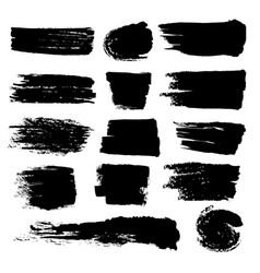 Black paint brush strokes dirty inked grunge vector