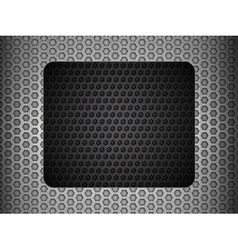 Grunge metallic mesh background with black panel vector