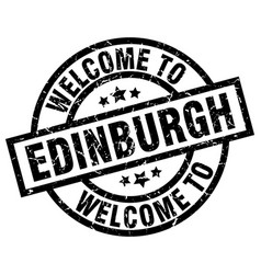 Welcome to edinburgh black stamp vector