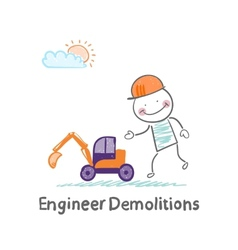 Engineer demolitions looks at a toy excavator vector