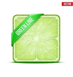 Square slice of lime green line vector