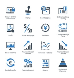 Finance icons set 3 - blue series vector