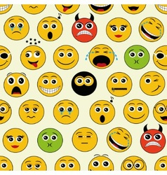 Seamless pattern with emoticons vector