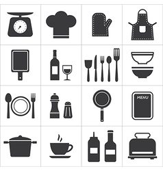 Icon set kitchen and cooking vector
