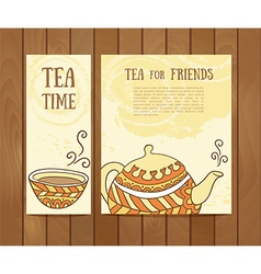 Set of tea vintage banners hand drawn sketch menu vector