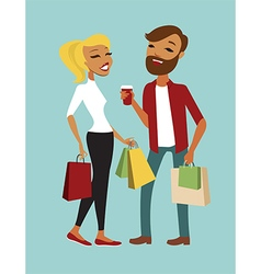 Young couple shopping vector image