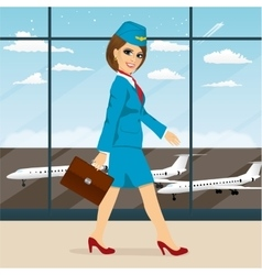 Stewardess with briefcase walking vector