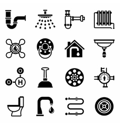 Plumbing icon set vector