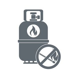 Camping gas container with prohibition sign icon vector