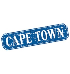 Cape town blue square grunge retro style sign vector