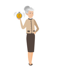 Caucasian business woman holding alarm clock vector