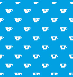Cup with teabag pattern seamless blue vector