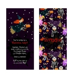 Cute invitation for kids Halloween party vector image