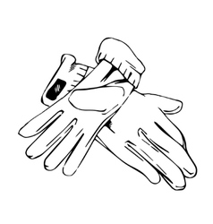 Elegant pair of gloves lie on the surface vector
