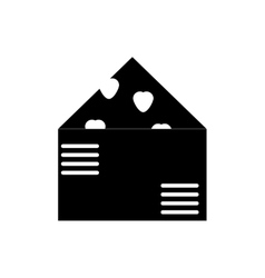 Flat icon in black and white style love letter vector