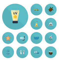 flat icons fly slippers anti-sun cream and other vector image vector image