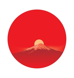 Fujiyama before sun in circle area vector image vector image