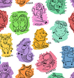 Funny Seamless Pattern of Sketch Zodiac Signs vector image