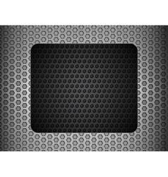 grunge metallic mesh background with black panel vector image vector image