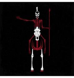 Grunge skeleton in spartan helmet with spear on vector