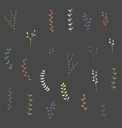 Hand-drawn silhouettes branches elements set vector
