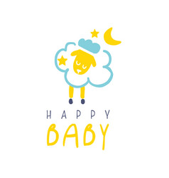 Happy baby logo colorful hand drawn vector