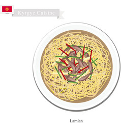 Lamian or Chinese Style Noodle with Beef or Mutton vector image vector image