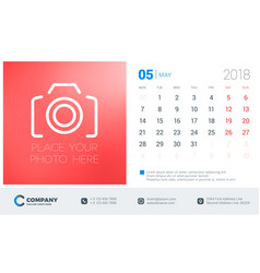 May 2018 desk calendar design template with place vector