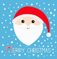 merry christmas candy cane santa claus head face vector image