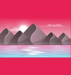 mountain sea - cartoon landscape vector image vector image