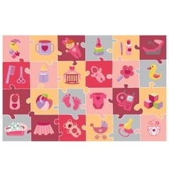 Newborn baby girl icons setbaby shower puzzle vector