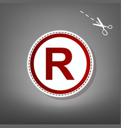 Registered trademark sign red icon with vector
