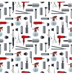 seamless pattern of hairdresser objects in flat vector image vector image