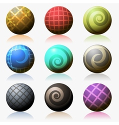 set of various color glossy sphere isolated on vector image vector image
