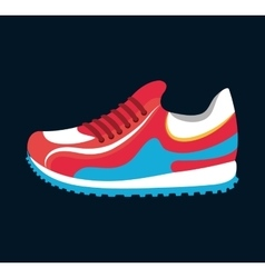 Sneaker sport running icon black background vector
