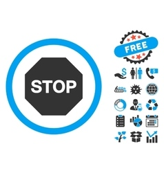 Stop Sign Flat Icon with Bonus vector image vector image
